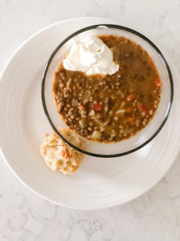 Creamy Lentil Soup and VeggieMuffins